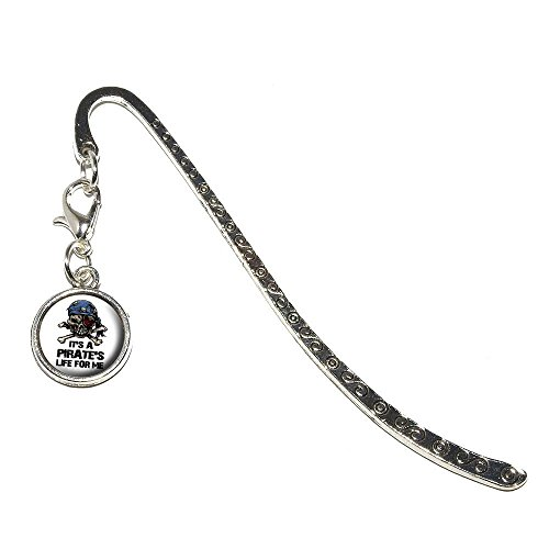 Bookmarks Pirate (Graphics and More It's a Pirate's Life For Me-Skull Crossed Bones Metal Bookmark Page Marker with Charm (CHARM_BOOK_0449))