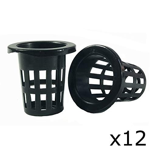 DECO2PRO LLC 3 Inch Garden Plastic Net Cups Pots,Round Heavy Duty Net Cups Pots for Hydroponics Aquaponics Orchids – 12…
