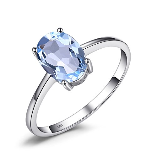 Natural Gemstones Birthstone Blue Topaz Solitaire Engagement Ring For Women For Girls 925 Sterling Silver Oval Cut Size 7 ()
