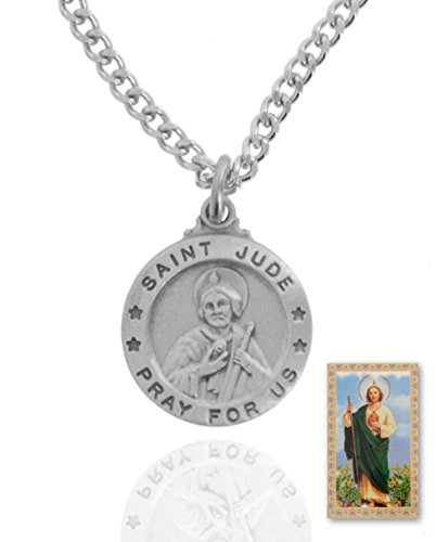 10 x Pewter Saint Jude Round Medal + 24 Inch Endless Chain + Laminated Prayer Card by Sterling Faith