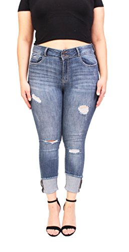 Cello Jeans Women Plus Size Middle Rise Distressed Cropped Skinny Jeans With Roll Cuff 16 Medium Denim