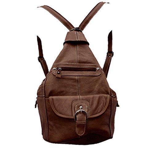 Womens Leather Convertible 7 Pocket Medium Size Tear Drop Sling Backpack Purse Shoulder Bag, Dark Brown (Bag Purse Sling)