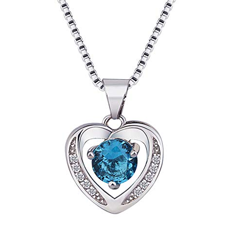 Nihewoo Women Jewelry Silver Necklace Clavicle Chain Topaz Pendant Heart-Shaped Necklace Crystal Necklace Love Pendant (Blue)