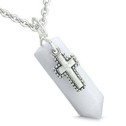 Crystal Wand Pendant (Amulet Crystal Point Wand Holy Cross Charm White Snowflake Quartz Pendant 22 Inch Necklace)