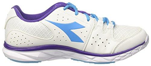 Diadora Hawk 7 W, Zapatos para Correr para Mujer Blanco (Bianco/blu Fluo)