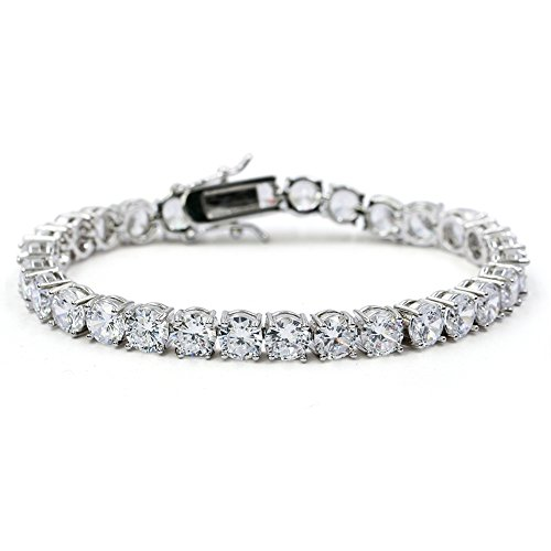 - JINAO 1 Row AAA Gold Silver Iced Out Tennis Bling Lab Simulated Diamond Bracelet 8