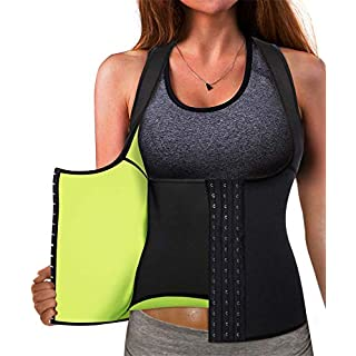 Best Neoprene Waist Trainer Corset Sweat Vest Weight Loss Body Shaper Workout Tank Tops Women (Black Sauna Suit, Large)