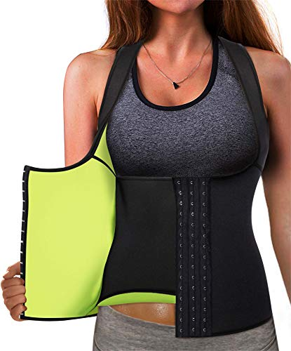 Eleady Best Neoprene Waist Trainer Corset Sweat Vest Weight Loss Body Shaper Workout Tank Tops Women (Black Sauna Suit, M(US 10))