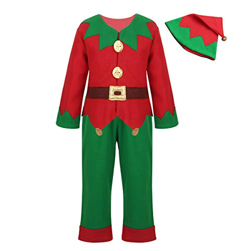 dPois Kids Boys Girls' Christmas Party Elf 3Pcs Fancy Outfit Long Sleeves Shirt Tops with Pants Hat Red&Green 10-12 ()