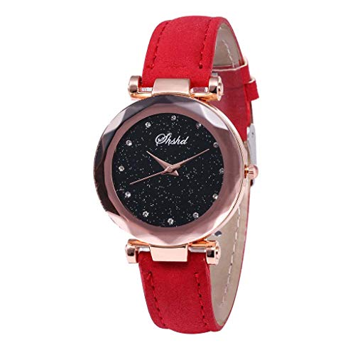 OutTop(TM) SHSHD Women's Girls Classic Luxury Inlay Diamond Starry Dial Leather Band Analog Quartz Vogue Wrist Watch (Red)
