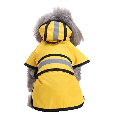 Pet Dog Raincoat for Small Medium Large Dogs Rain Jacket Stripe with Hood Poncho Waterproof XS-4XL (XXL, Yellow) ()