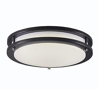 Surpars House LED Flush Mount Ceiling Light 4000K (Daylight Glow) 15W (60w equivalent),12 Inch,Black