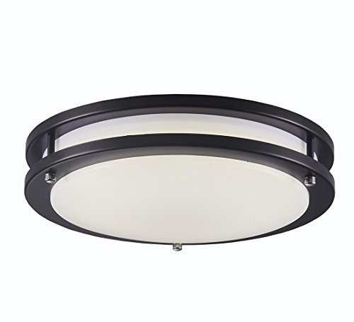 Surpars House LED Flush Mount Ceiling Light 4000K (Daylight Glow) 15W (60w equivalent),12 Inch,Black by Surpars House