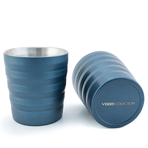 Modern 8-Ounce Espresso Lungo Cappuccino Stainless Steel Cup Set of 2, 8 Ounce Verre Collection (Teal) ()