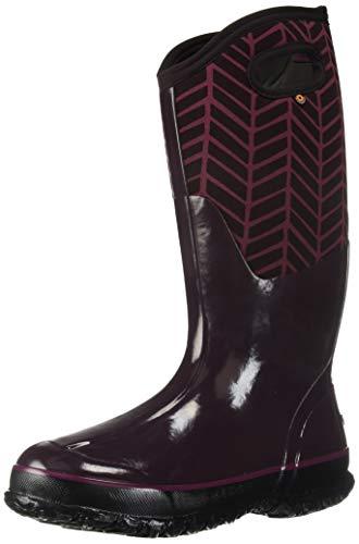 Bogs Women's Classic Printed NEO-TECH Snow Boot, Tall Badge Grape Multi, 10 Medium US