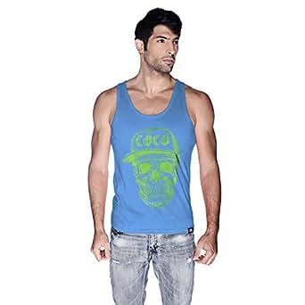 Creo Green Coco Skull Tank Top For Men - Xl, Blue