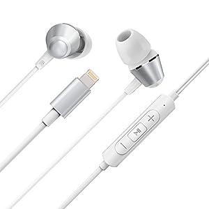 Écouteurs Filaires 8-Pin Lightning VAVA MOOV 10 Apple MFi Certifié Pour iOS Casques Intra-Auriculaires (Fréquence d'Échantillonnage de 48kHz, DAC 24 Bit, Intégration avec l'App EQ ajustable , Micro Numérique Intégré, Câble Lightning, Contrôles En Ligne) – Blanc