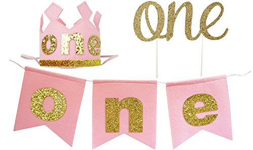 PoshPeanut Baby Girls 1st Birthday Party Supplies Set - Banner, Crown, & Cake Topper
