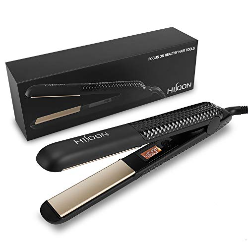 HISOON Professional2 in 1 hair straightener and curler titanium ceramic Flat Iron for Hair with Adjustable Temperature 320°F-460°F Dual Voltage Travel Size hair styling tool