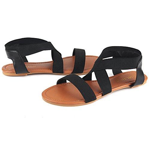 MuDan Women's Elastic Flat Sandals (8 B (M) US, Black-a) by MuDan (Image #4)