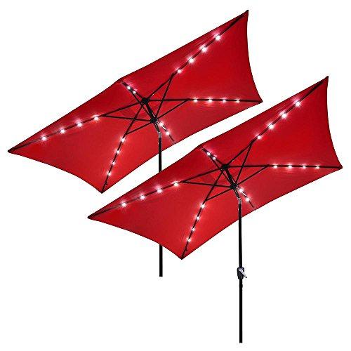 Yescom 10 x 6.5 Rectangle Aluminum Solar Powered Patio Umbrella w 20 LEDs Crank Tilt Poolside Garden Pack of 2