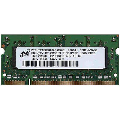 MT8HTF12864HDZ-667H1 Micron 1GB PC2-5300 DDR2-667MHz Non-ECC Unbuffered CL5 200-Pin SoDimm Dual Rank Memory Module
