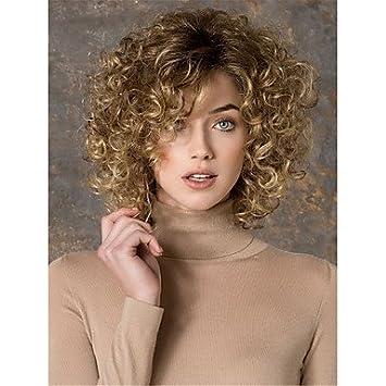 GSP-de oro de la moda rubia mezcla corto pelucas sintéticas rizadas de la mujer
