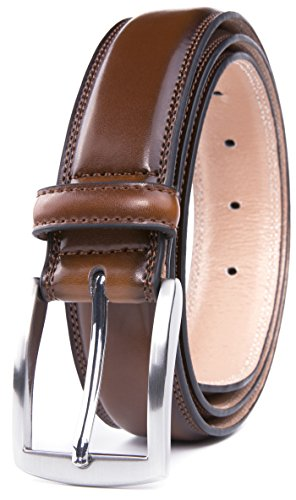 Men's Belt, Classic and Fashion Designs for Work Business and Casual, Regular Big & Tall Sizes Handmade Genuine Leather, Black White Brown Wine Navy Tan (36, Burnt Umber) (Quality Leather Brown)