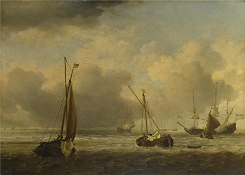 Price comparison product image 'Willem Van De Velde Dutch Ships And Small Vessels Offshore In A Breeze ' Oil Painting,  10 X 14 Inch / 25 X 36 Cm , printed On High Quality Polyster Canvas