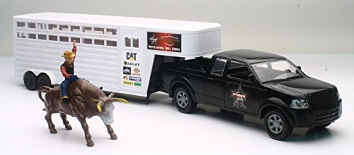 [PBR Pickup Truck and Trailer w/ Bull & Rider Playset B/O Sound Effects] (Bull Rider Rodeo)