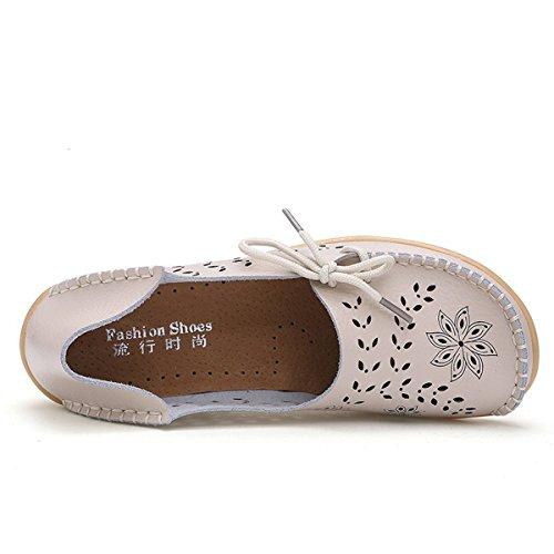 Perméable Trou Pilotes Chaussures Beige Xmeden Occasionnels De Avec L'air À Plat Granités Dame Cuir De Oisif Pour Femmes En wZaxCaEqBg