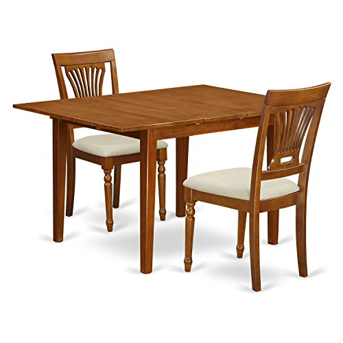 East West Furniture MLPL3-SBR-C 3 Piece Set Milan Table Having Leaf And Two Cushioned Chairs In Saddle Brown