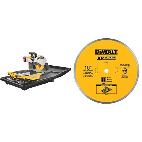 Best Price DEWALT D24000 1.5-Horsepower 10-Inch Wet Tile Saw with DEWALT DW4761 10-Inch Wet Cutting ...