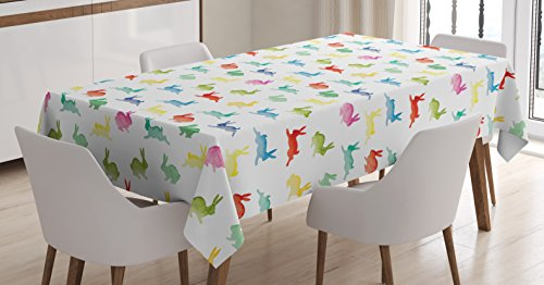 Lunarable Paint Tablecloth, Cute Rabbits in Different Poses Jumping Running Bunnies Happy Easter Paintbrush Art, Dining Room Kitchen Rectangular Table Cover, 60 W X 84 L inches, Multicolor ()