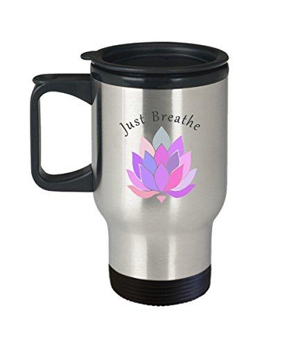 JUST BREATHE Mug, Yoga Mug, Meditation, Mindfulness, Coffee Mug, Lotus Flower, Yoga Mom, Yoga Travel Mug, Gift for Mom by Robyn-Michele Design Co.
