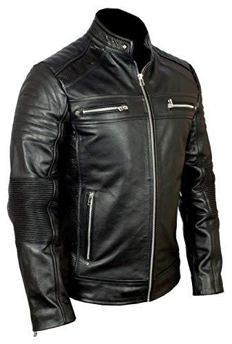 Brando Classic Diamond Quilted Biker Men's Motorcycle Brown Hide Leather Jacket (Black - Cafe Racer Vintage Black Leather Jacket, XL/Body Chest 44