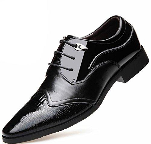 LEDLFIE Chaussures en Cuir pour Hommes Noir