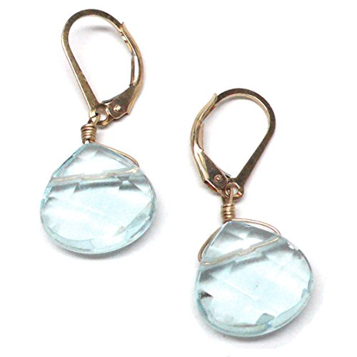 Lab Grown Aqua Quartz 12x12 Briolette Lever Back Earrings Gold-Filled