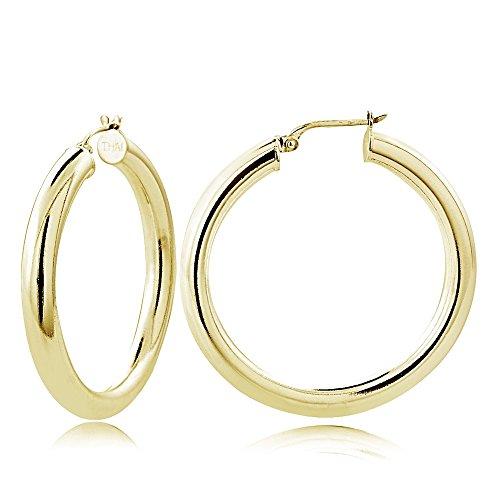 Hoops & Loops Flash Plated Gold over Sterling Silver 4mm Polished Round Hoop Earrings, (3mm Hammered Hoop Earrings)