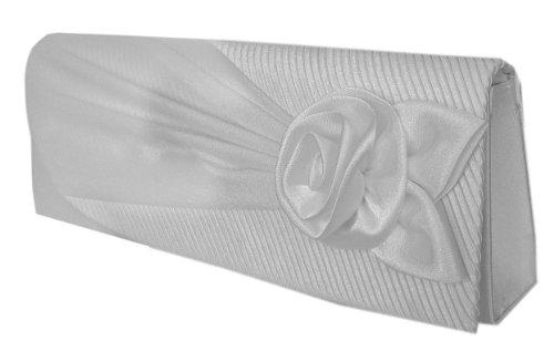 Damen Satin Brauttasche Hochzeittasche Casinotasche,Handtasche Partytasche Schultertasche Blütenapplikation,Clutch Weiß 27x10 cm ,