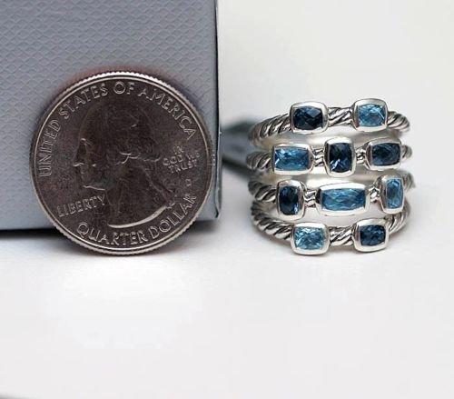 b4e779378d0e1 Amazon.com  DY DAVID YURMAN Brand New Silver Wide 4 Row Confetti Ring Blue  Topaz London Blue Topaz 6  Jewelry