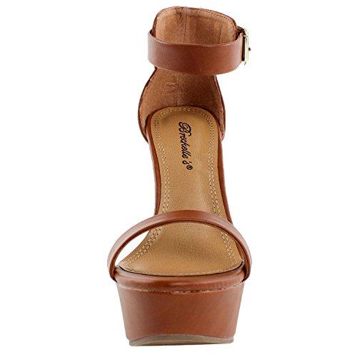 Breckelles Donna Open Toe Cinturino Alla Caviglia Sandali Con Zeppa Tan Pu