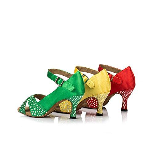 Ladies Satin TH038 Minitoo Yellow Wedding Latin Taogo Ballroom Dance Sparkling Sandals dgwxx5ta