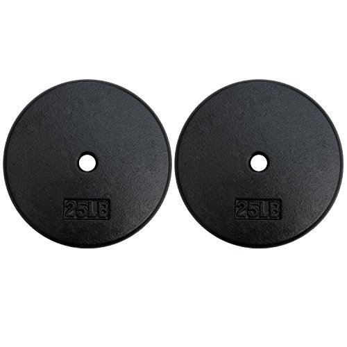A2ZCARE Standard Cast Iron Weight Plates 1-Inch Center-Hole for Dumbbells, Standard Barbell 10, 15, 20, 25 lbs (25 lbs - Pair)