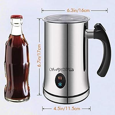 SAYESO Espumador de Leche, Espumador y Calentador Automático de Leche, Acero Inoxidable Plateado, Caliente y Calentación Apagamiento Automático Espumador de Cafe Latte Cappuccino: Amazon.es: Hogar