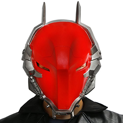 Red Hood Costume Arkham Knight (Arkham Knight Helmet Mask Props for Adult Halloween Villain Costume PVC Red)