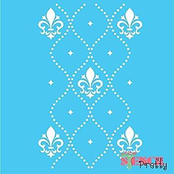Fleur De Lis Damask Wall Pattern Allover Template-Massive | Standard Brilliant Blue Color Material 20.75 x 33 Stencil