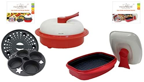 Microhearth Cookware Set Everyday Pan Combo Grill Pan for Microwave Oven, Red