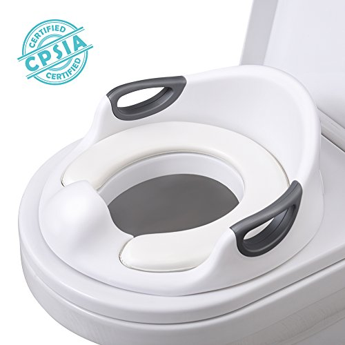 AiKiddo Potty Training Seat for Toddlers Toilet Seat Kids Potty Trainer Seats with Soft Cushion Handles for Round Oval Toilets Double Anti-Slip Design and Splash Guard for Boys and Girls (White)