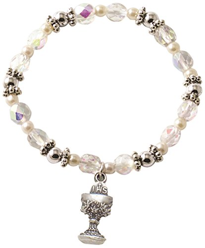 (Cathedral Art SBB114 Communion and Confirmation Crystal Bead and Pearl Stretch Bracelet with Cross Charm, 2-3/4-Inch Diameter)